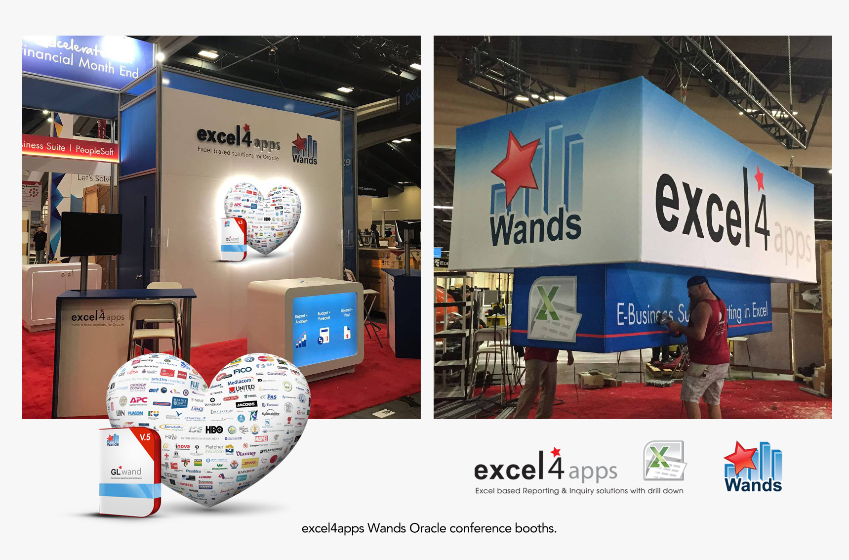 Excel4apps conference booths with 3D heart Photo illustration